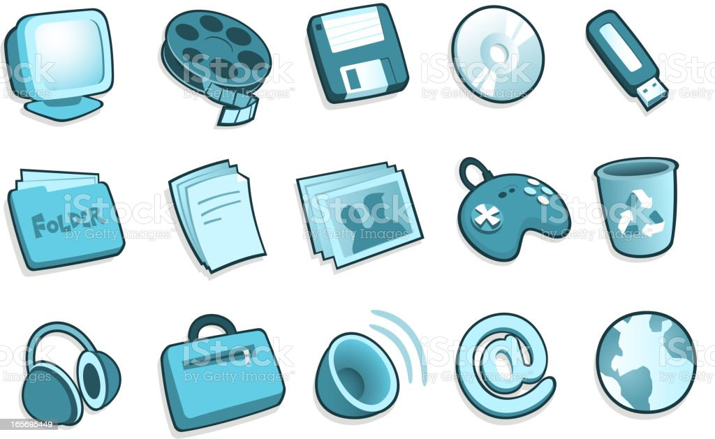 PC system icons royalty-free stock vector art