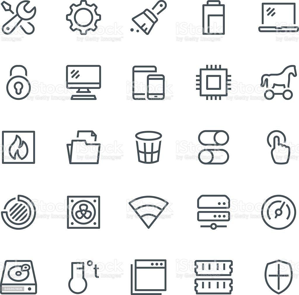 System Maintenance Icons vector art illustration