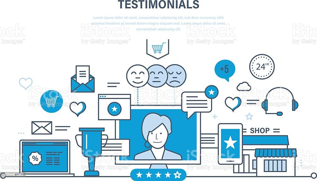 System reviews, specifications, letters of recommendation and reports, ratings, evaluation. vector art illustration