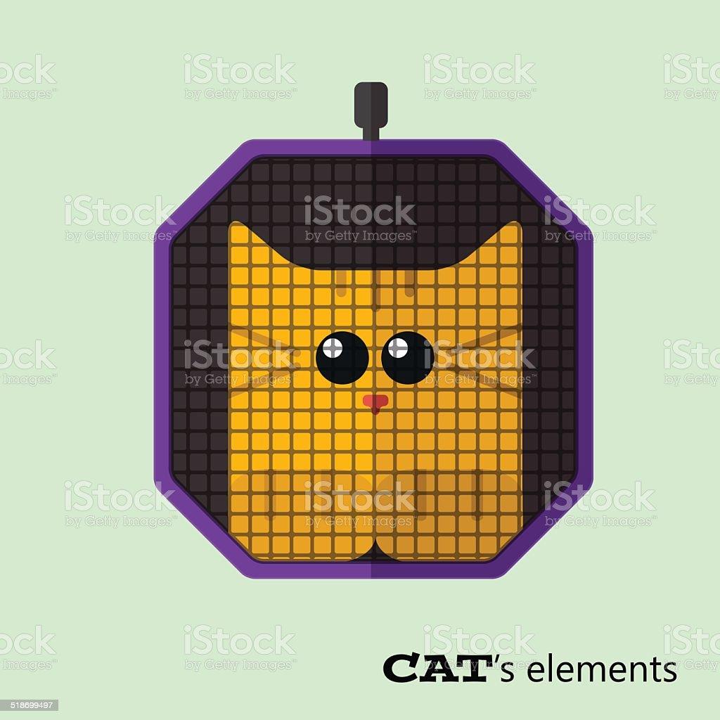 Tabby cat in pet carrier vector art illustration