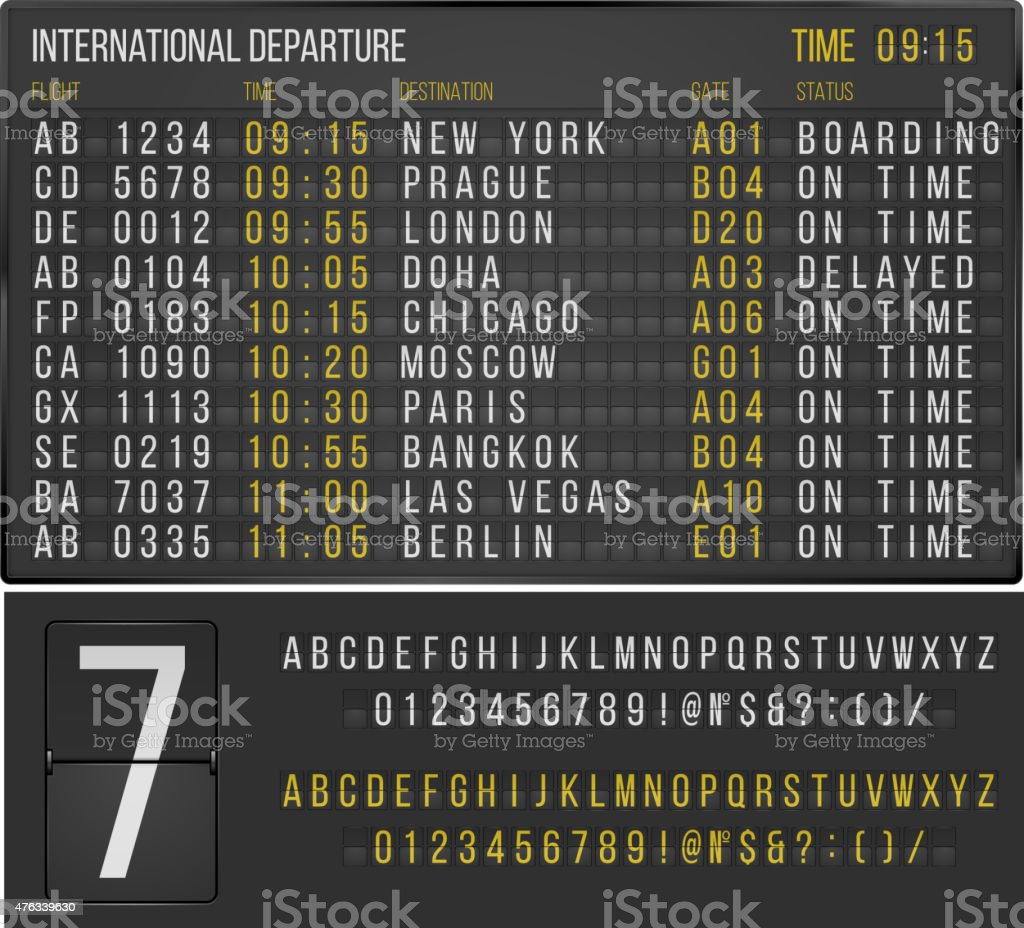 Table airport vector art illustration
