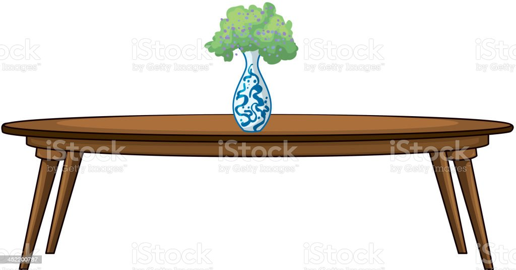 Table and a flowerpot royalty-free stock vector art