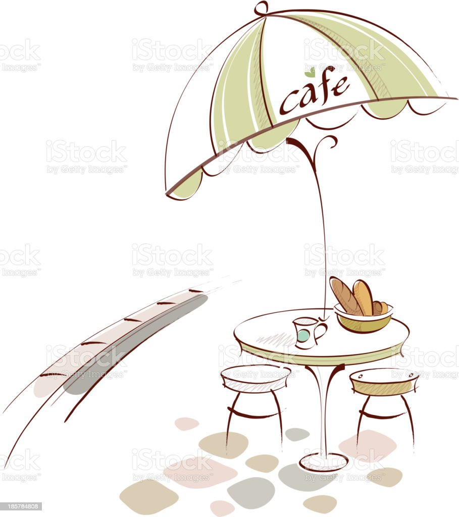 Table and Chair at outdoor cafe vector art illustration