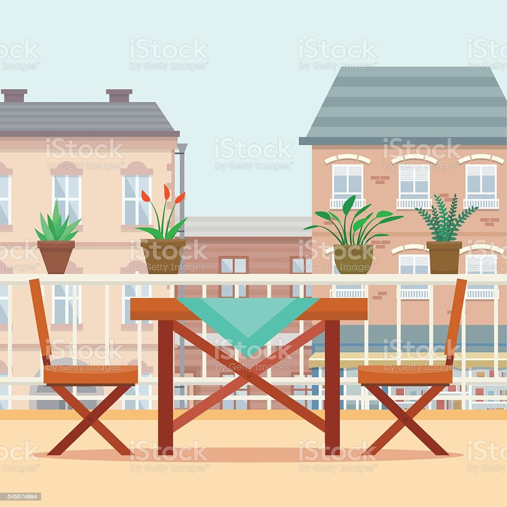 Table and chairs on the balcony. vector art illustration