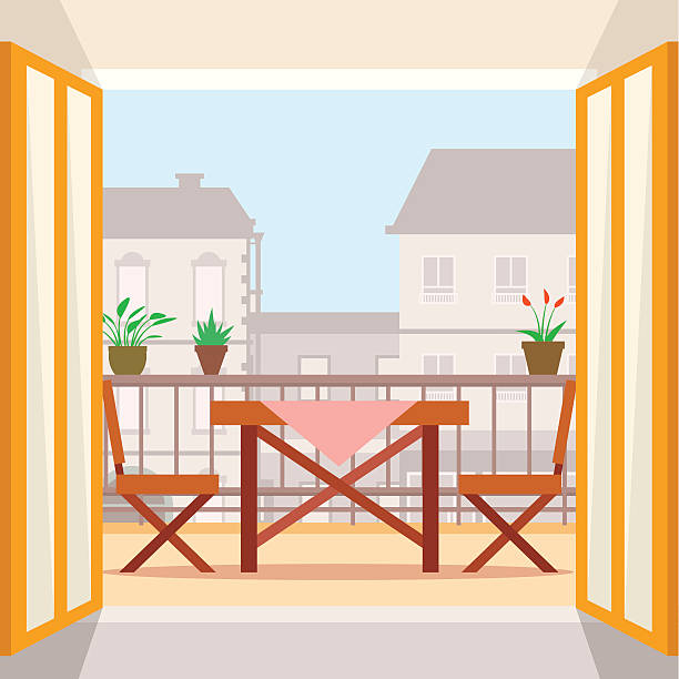 Balcony clip art vector images illustrations istock for Balcony clipart