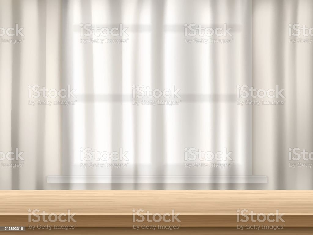 table and curtain background vector art illustration
