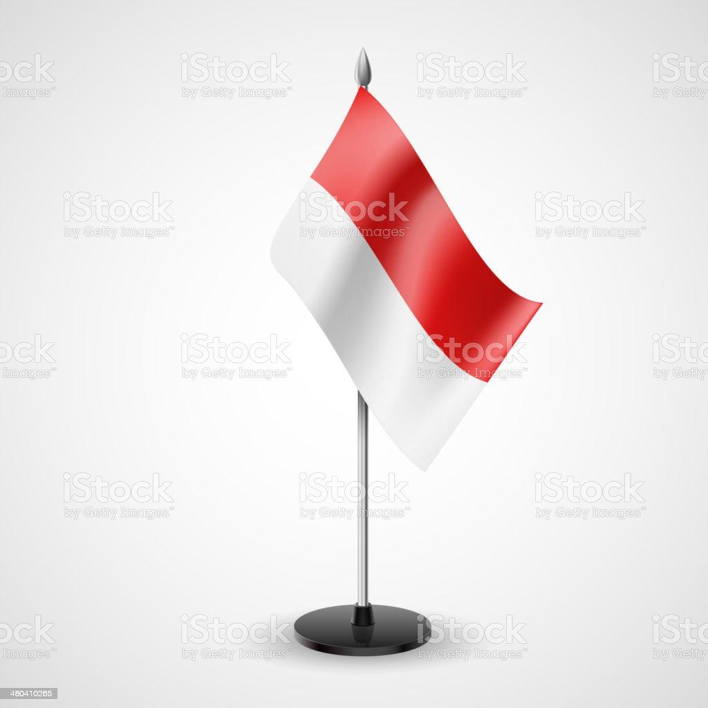 Table flag of Monaco vector art illustration