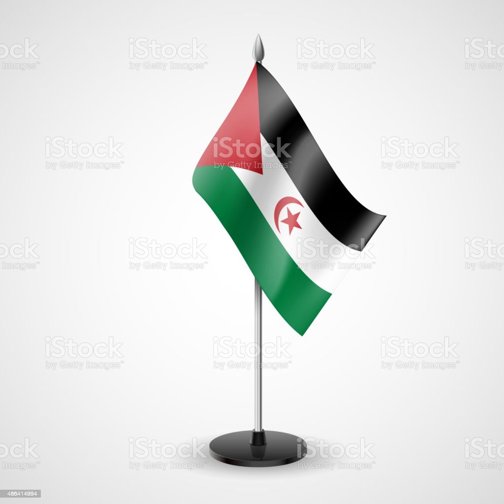 Table flag of Sahrawi Arab Democratic Republic vector art illustration