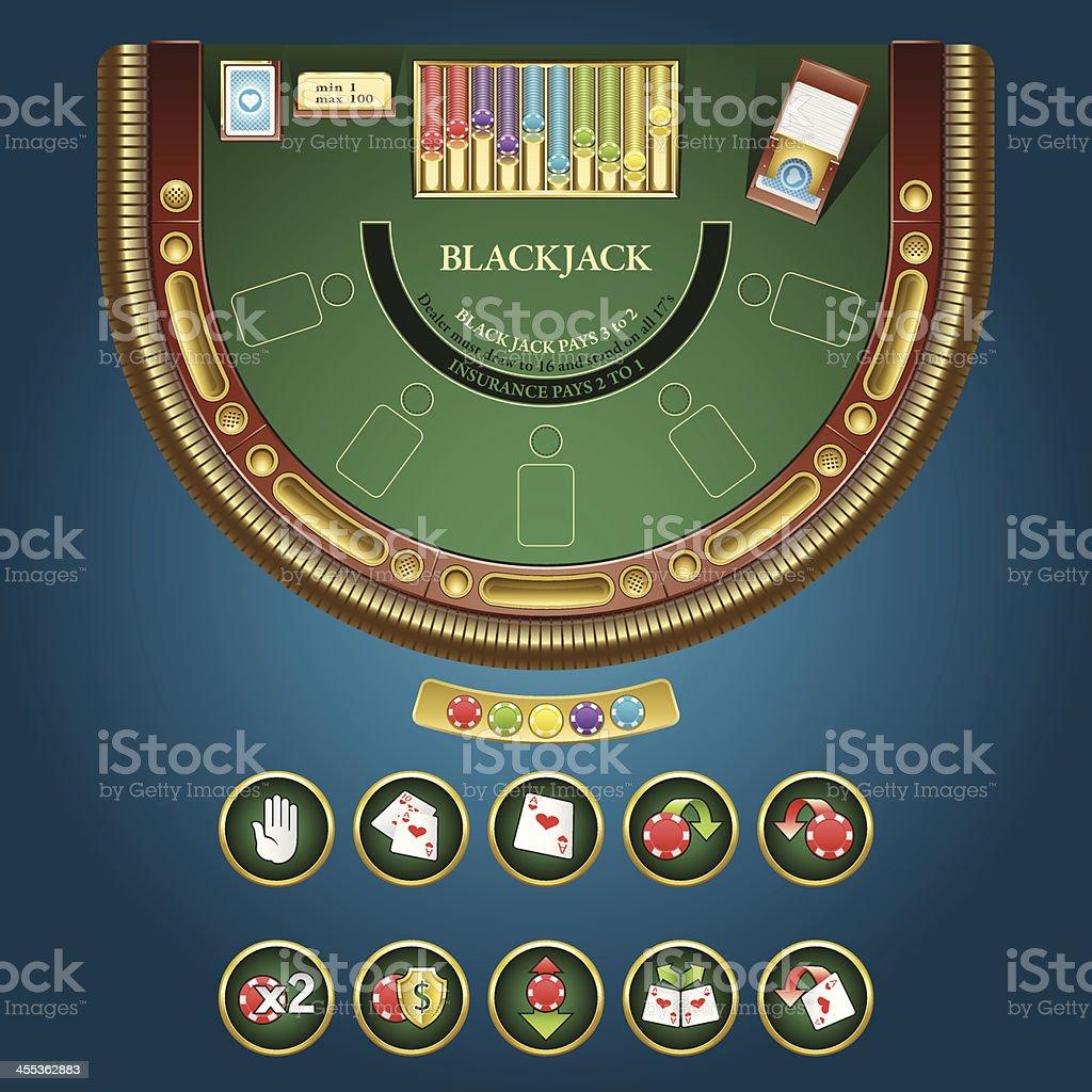 Table for blackjack - online casino interface. vector art illustration