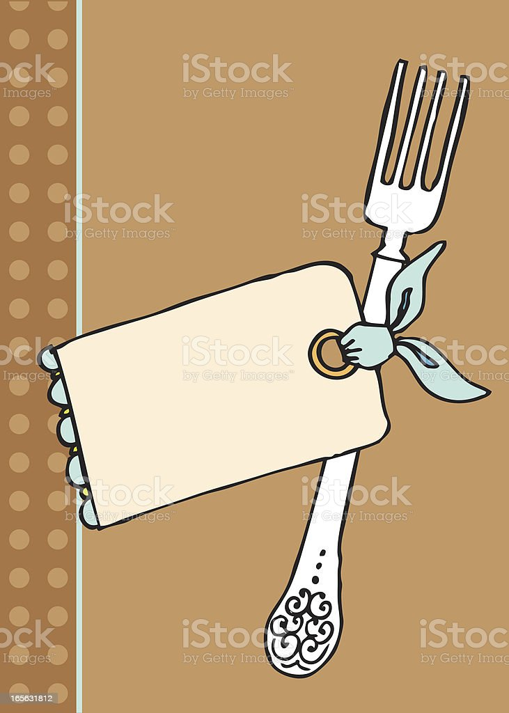 Table fork with tag royalty-free stock vector art