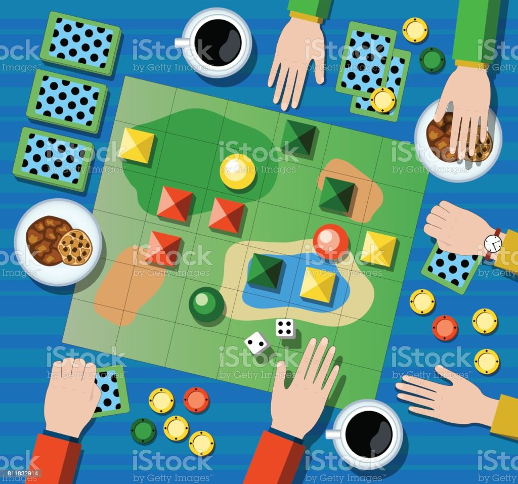 Table game flat vector illustration. Family board game with player s hands. vector art illustration