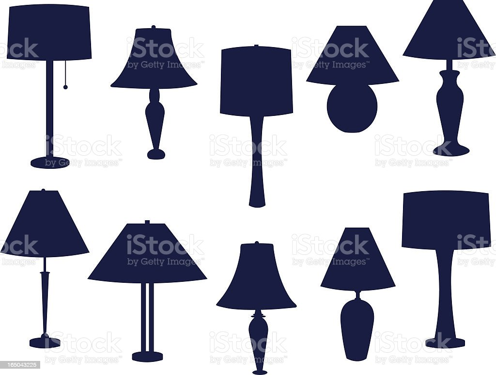 Table lamps of various designs colored in dark blue royalty-free stock vector art