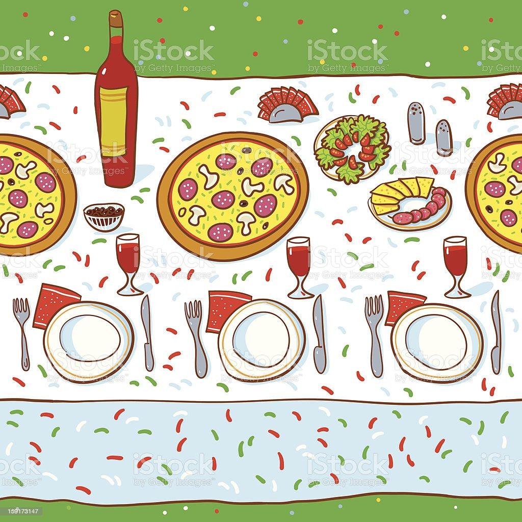 Table Llinen Pizza Pattern. royalty-free stock vector art