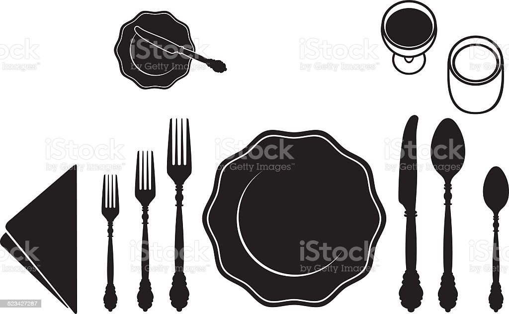 Table Place Setting vector art illustration