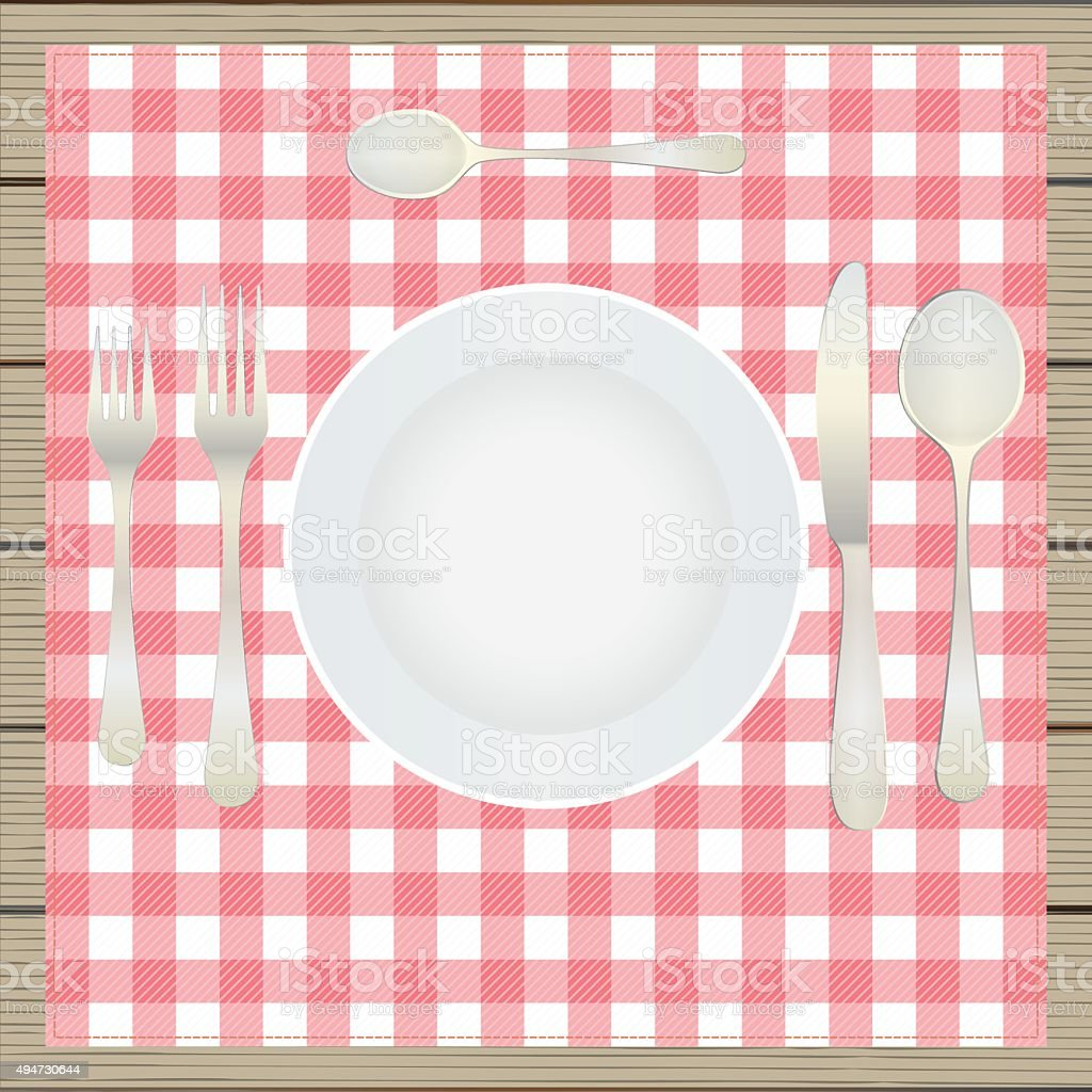 Table setting, etiquette. vector art illustration