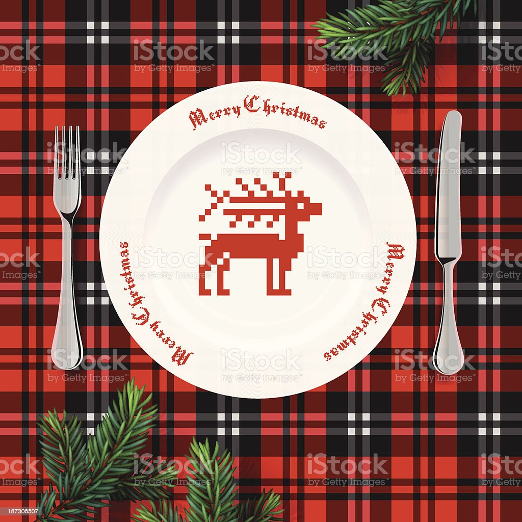 Table setting for Christmas dinner royalty-free stock vector art