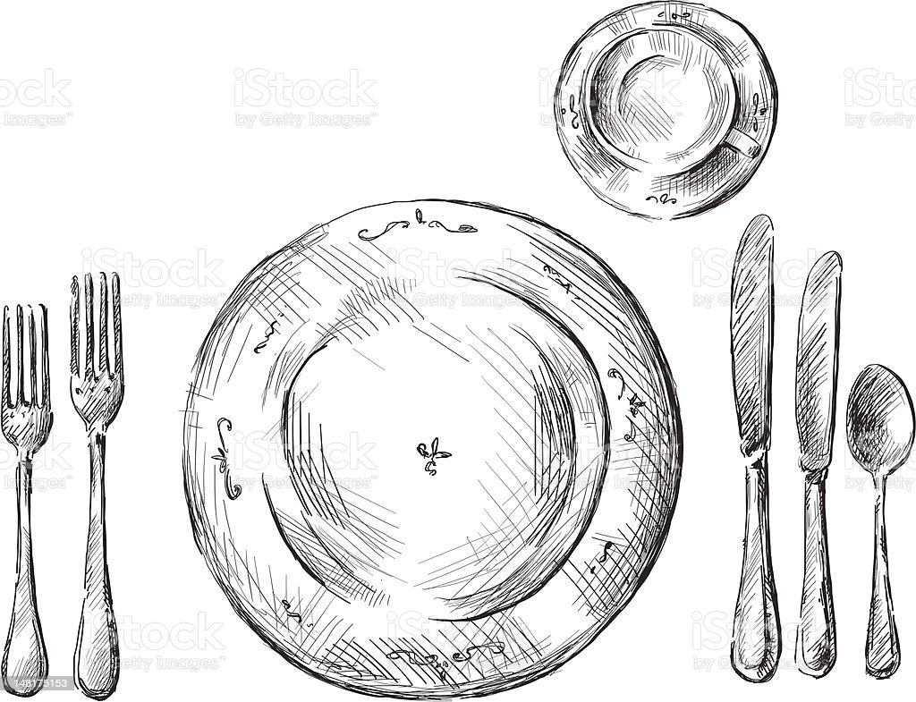 table setting vector illustration royalty-free stock vector art