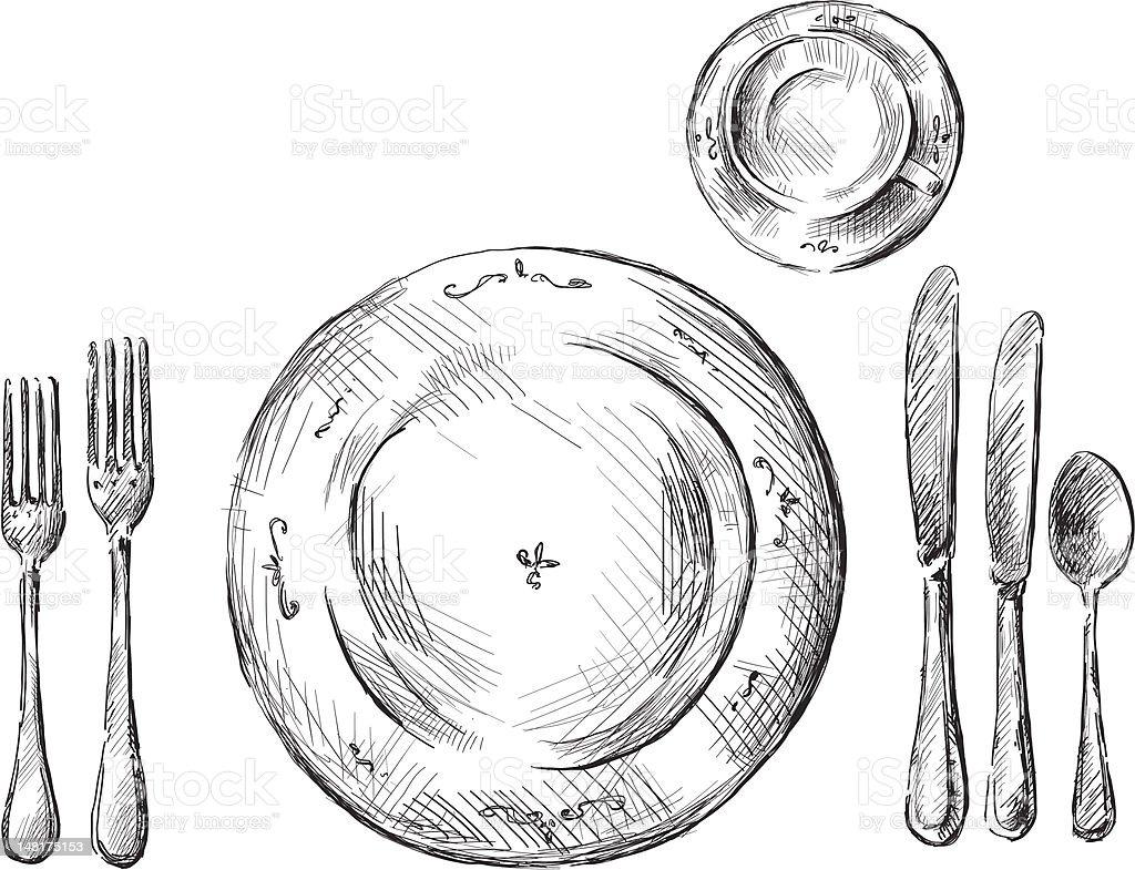table setting vector illustration vector art illustration