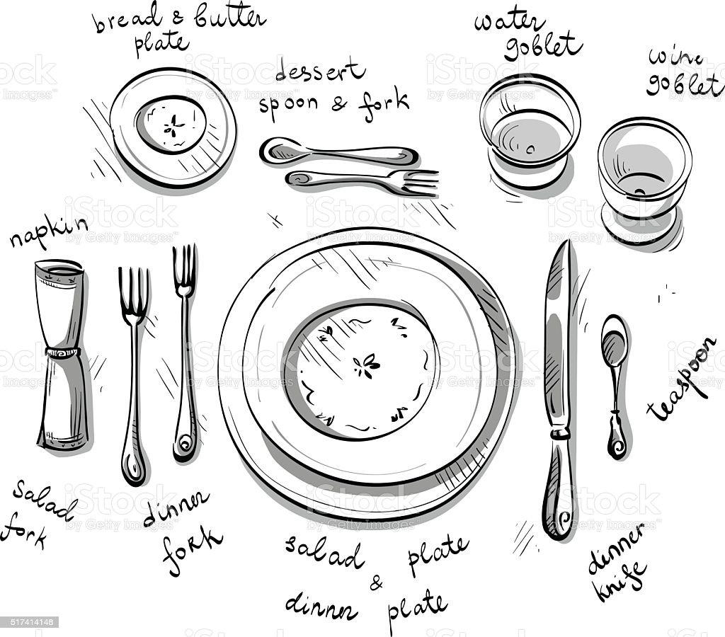 Table setting. Vector sketch. vector art illustration