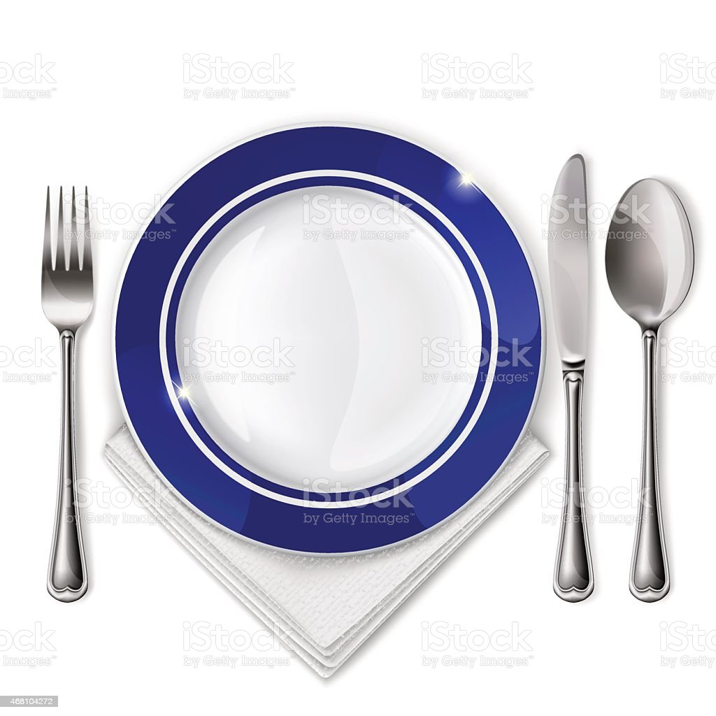 Table setting with a fork, plate, knife, spoon, and napkin vector art illustration