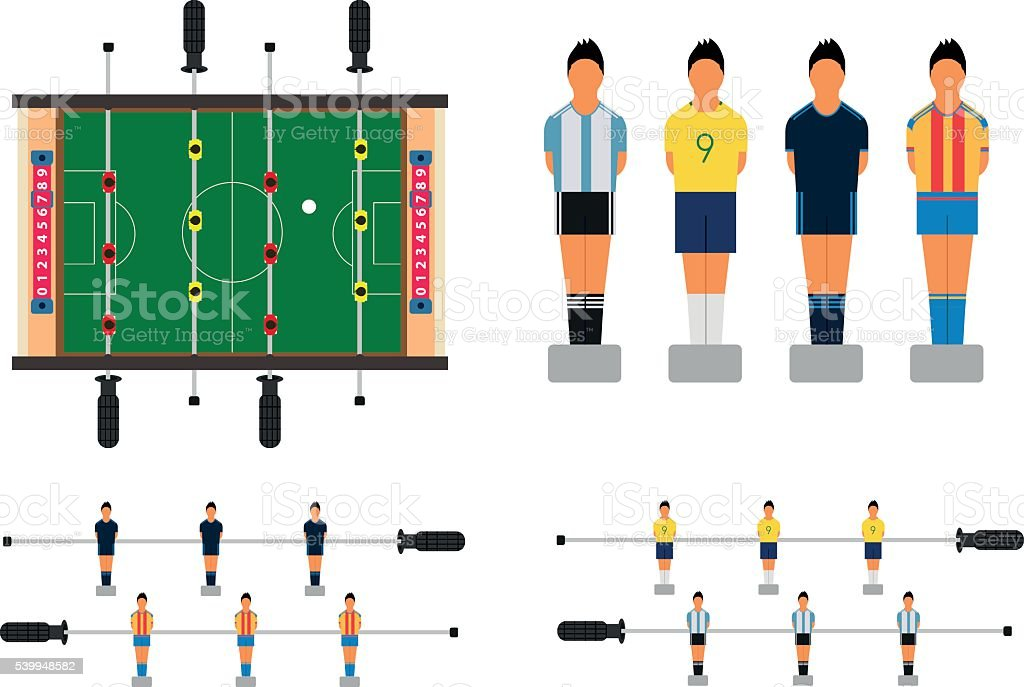 Table soccer set with kicker table and football players figures. vector art illustration