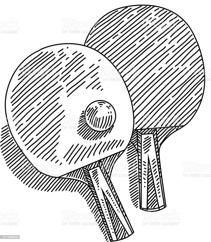 Table Tennis Drawing vector art illustration