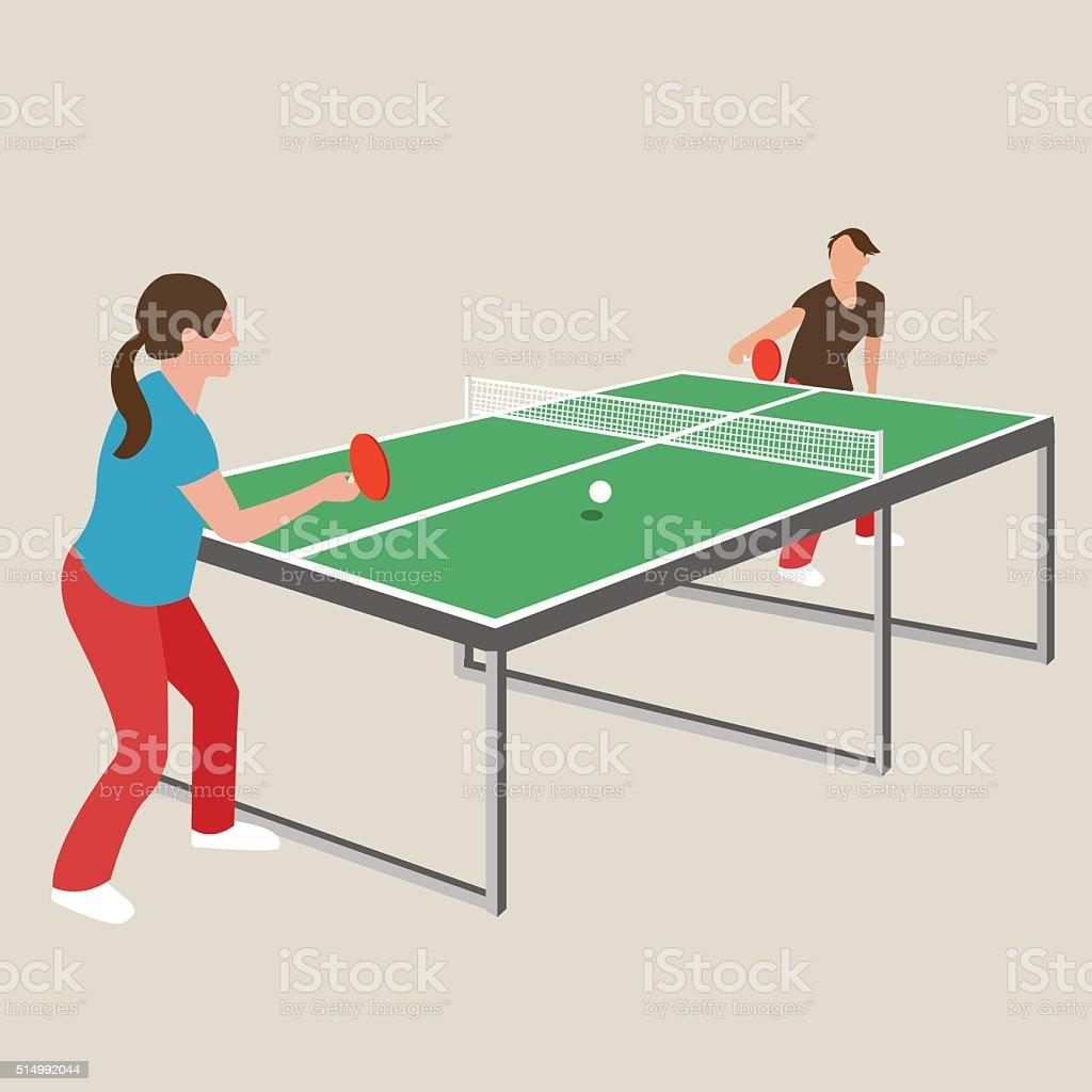 table tennis ping pong woman female girl athlete play sport vector art illustration