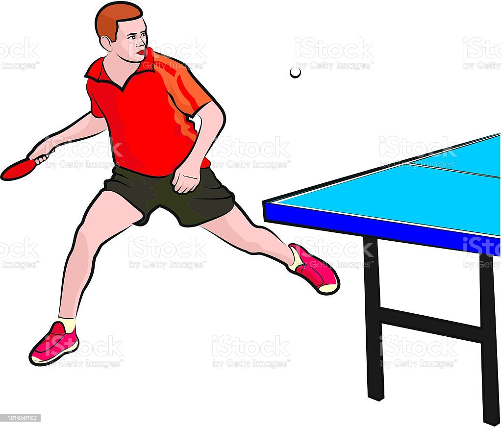 table tennis - player vector art illustration