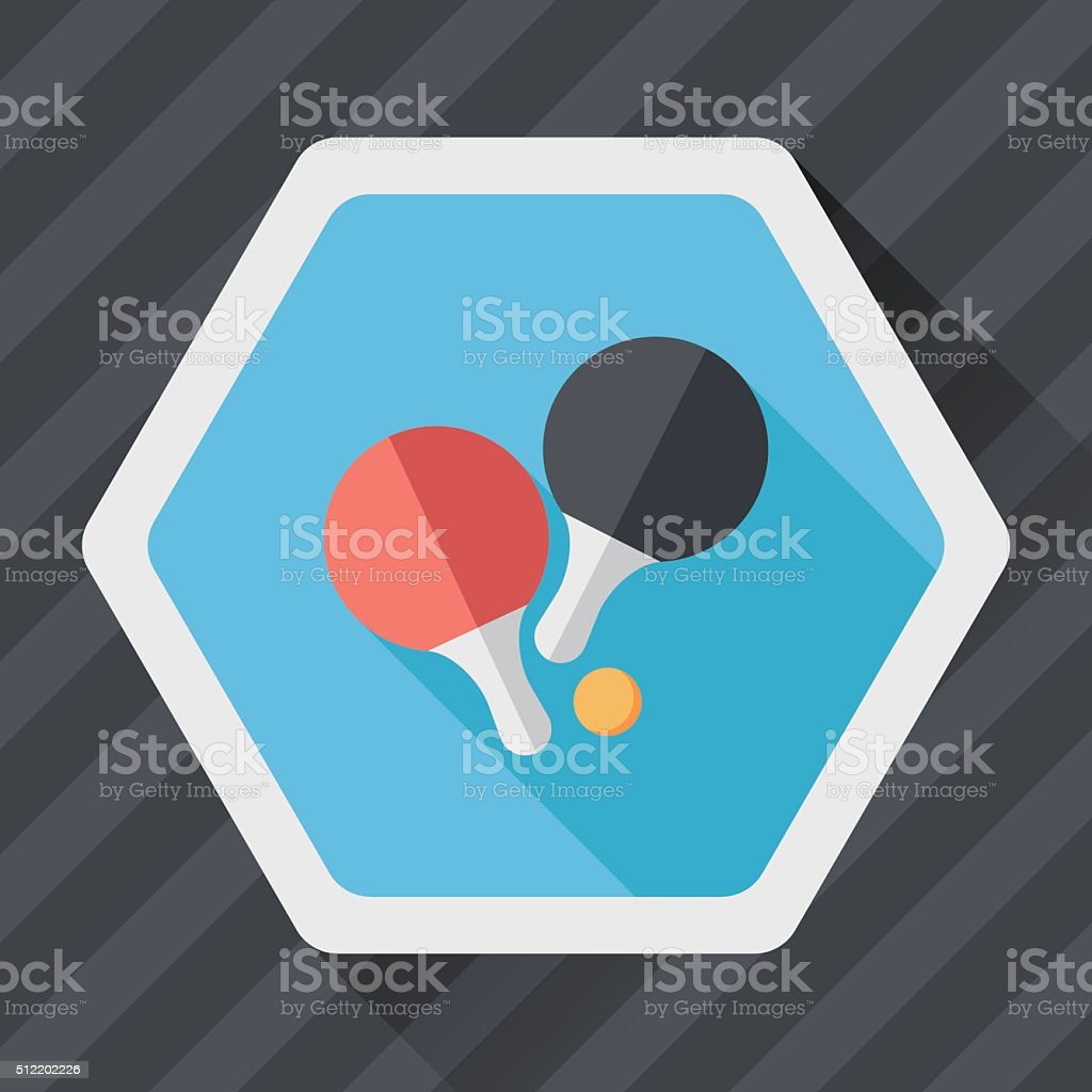 table tennis racket flat icon with long shadow,eps10 vector art illustration