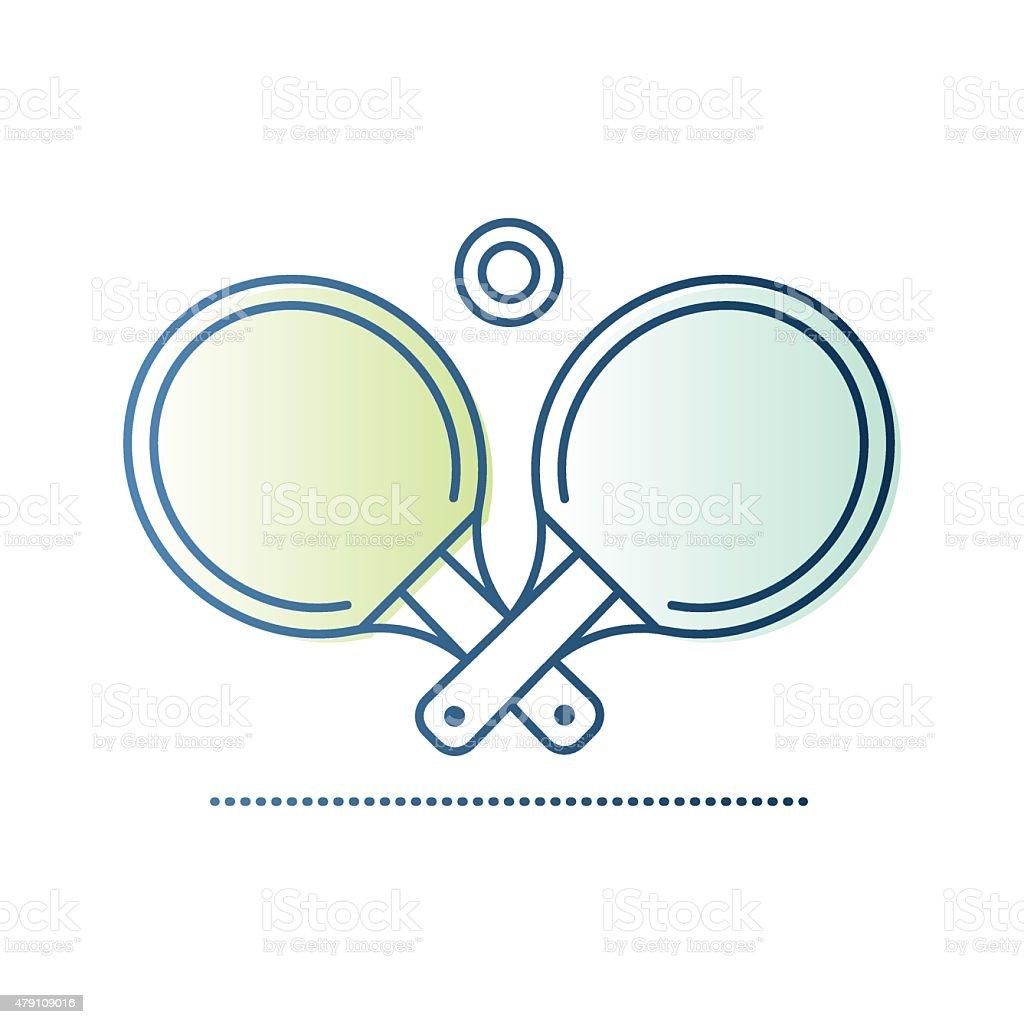 Table Tennis Rackets and Ball vector art illustration