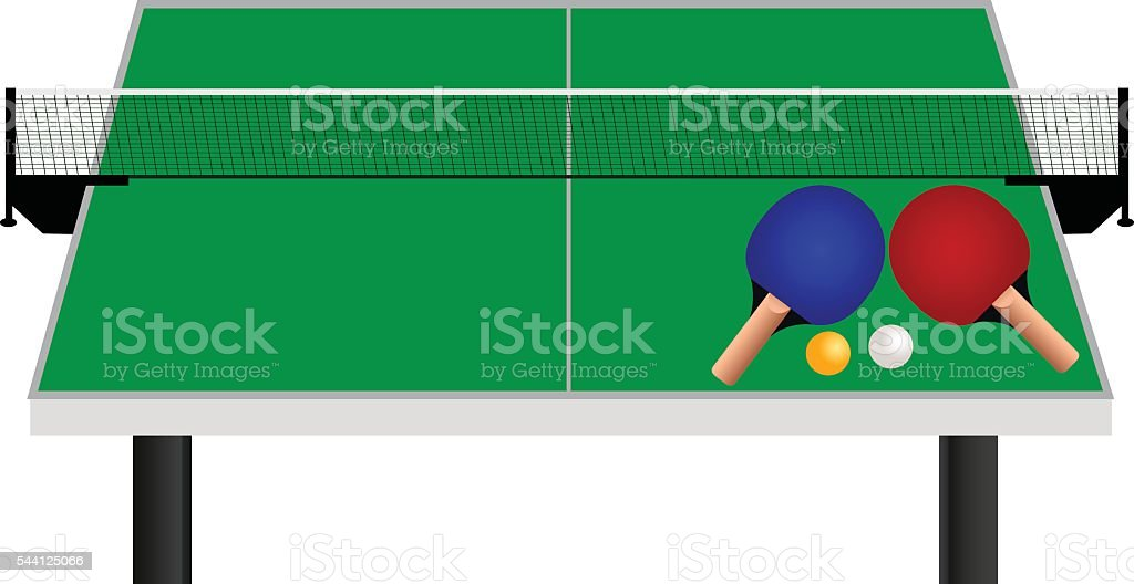 Table Tennis Table Racket With Balls vector art illustration