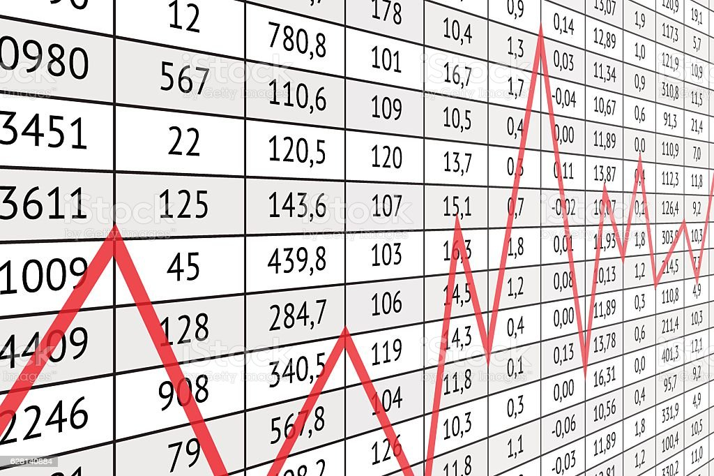 Table with numerical data and red graph line vector art illustration