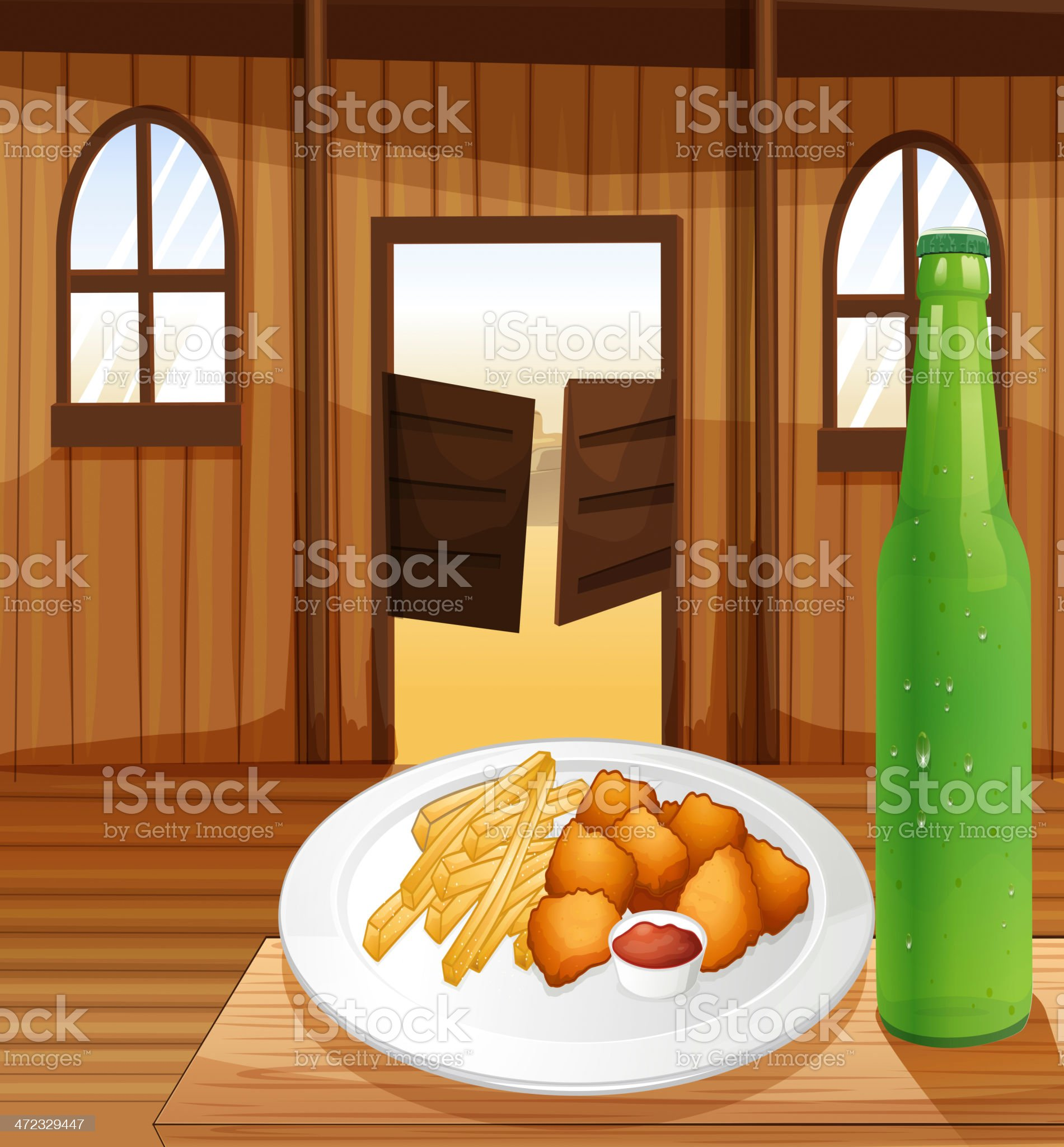 Table with plate of food and soda royalty-free stock vector art