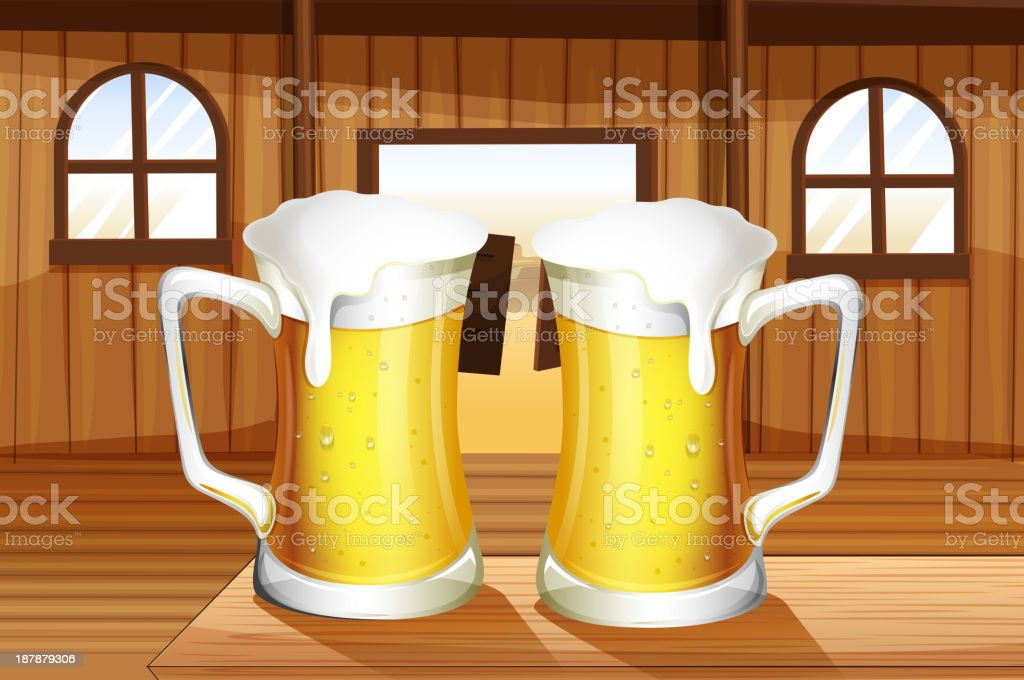 table with two mugs of beer vector art illustration