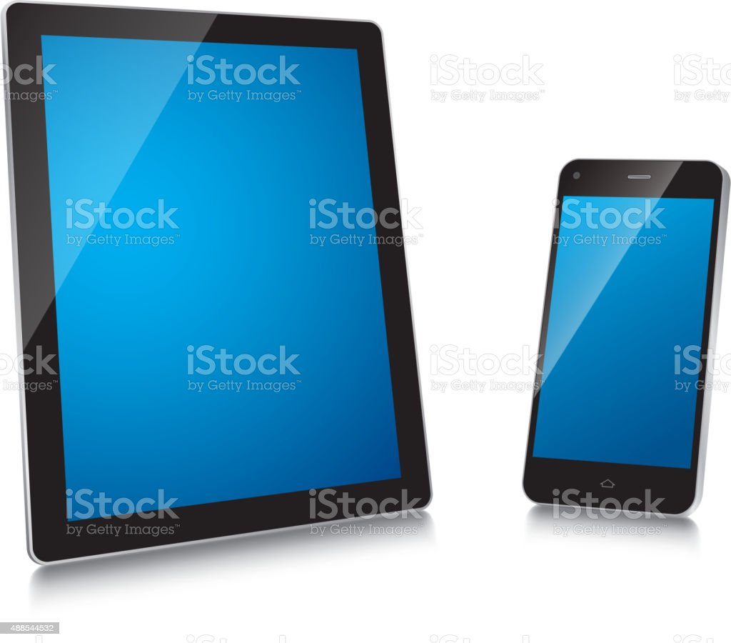 Tablet and mobile phone vector art illustration