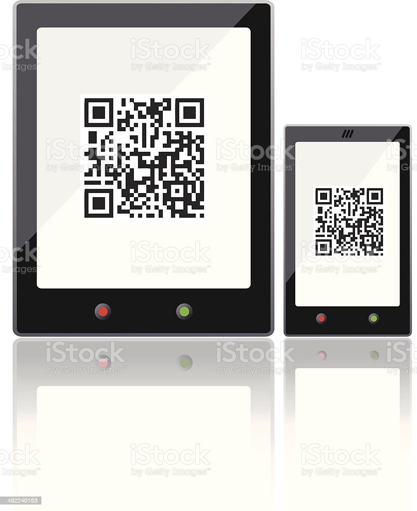 Tablet and Mobile phone with QR code royalty-free stock vector art