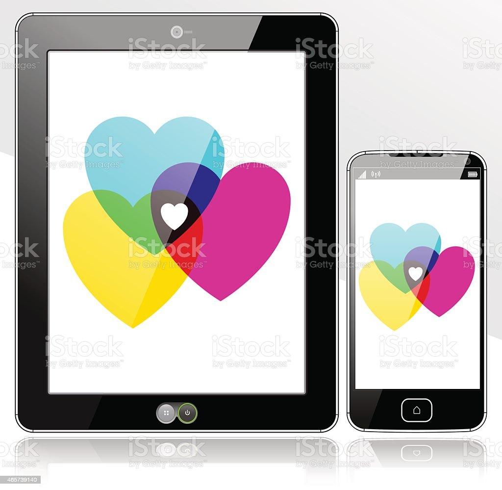Tablet and SmartPhone Digital Hearts vector art illustration