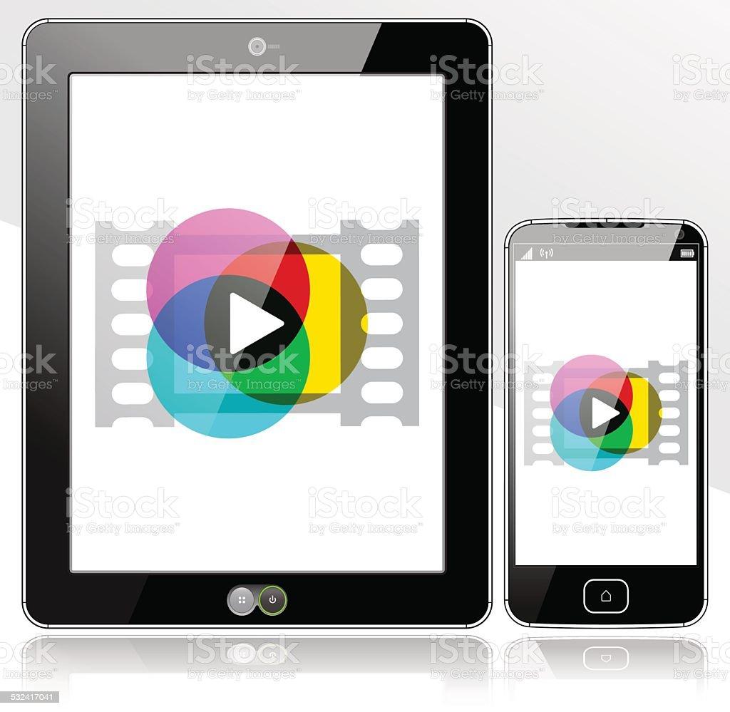 Tablet and SmartPhone media player vector art illustration