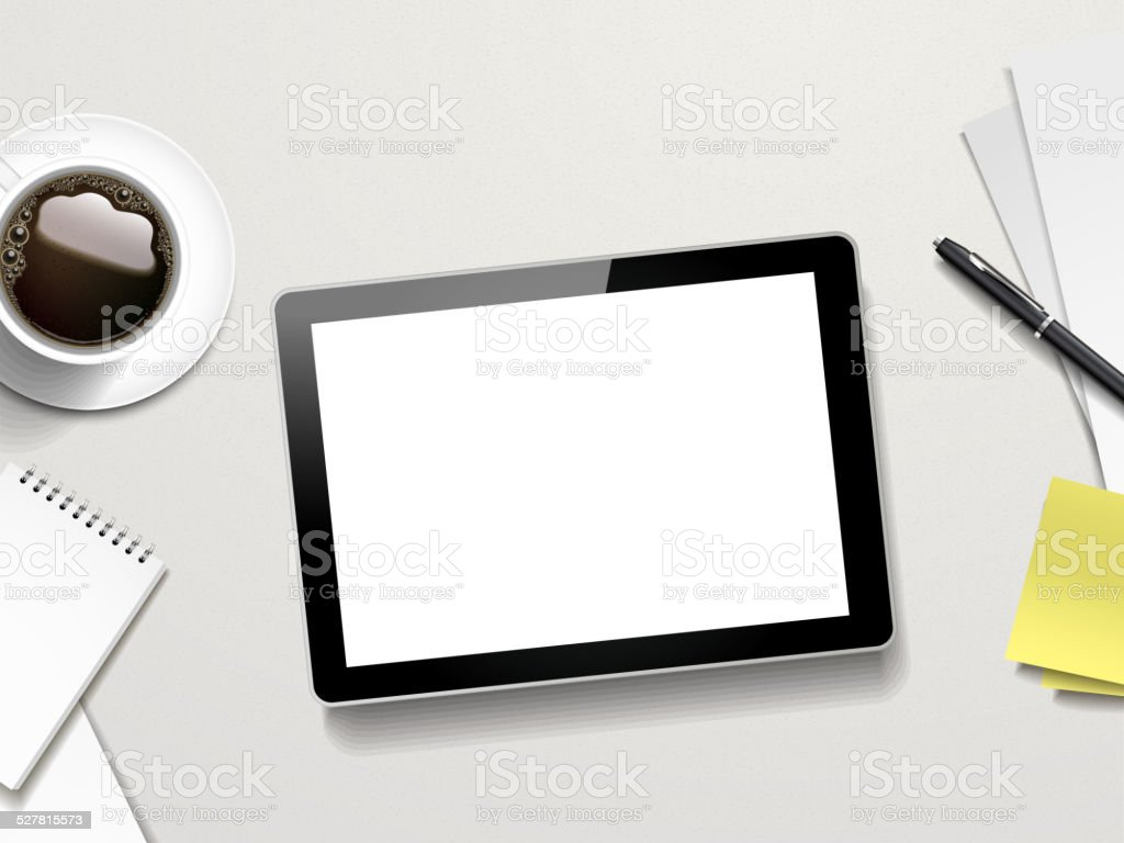 tablet and working place elements vector art illustration