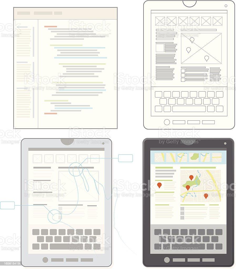 Tablet Application Development vector art illustration