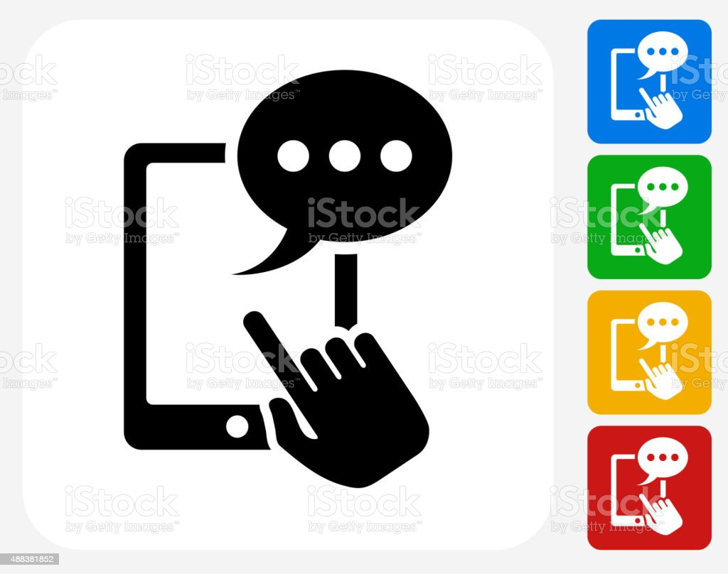 Tablet Communication Icon Flat Graphic Design vector art illustration