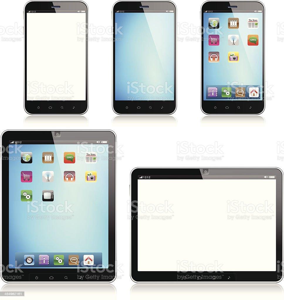 Tablet Computer and Mobile Phone - Illustration vector art illustration