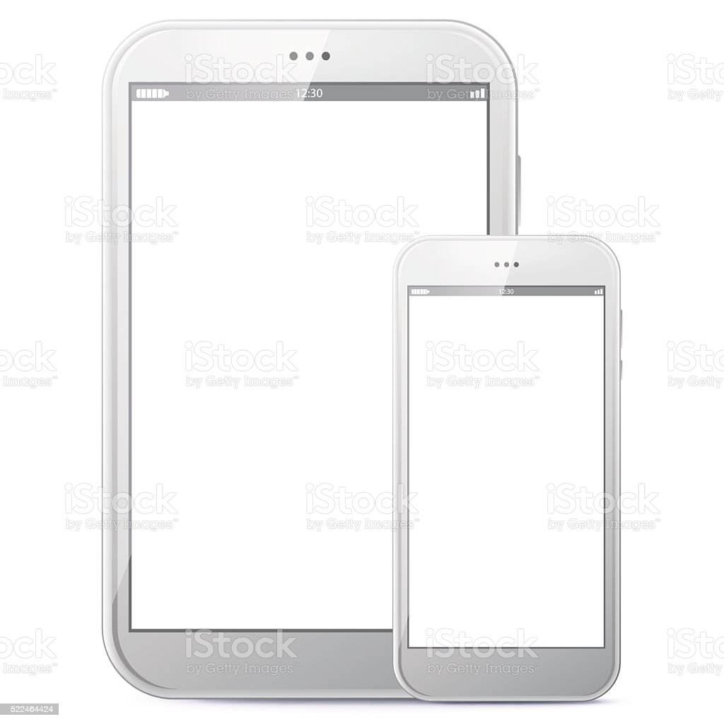 Tablet Computer and Mobile Phone Vector illustration. vector art illustration