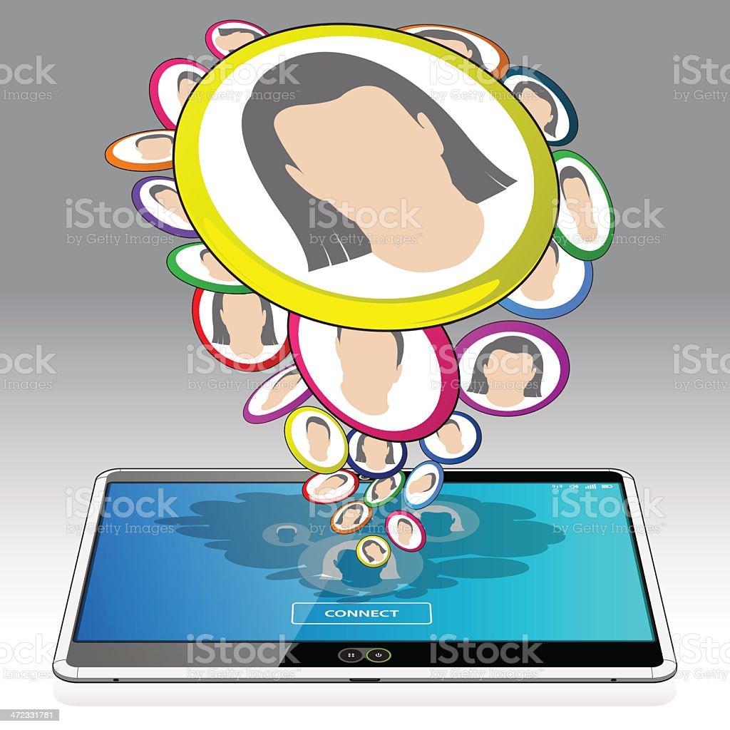 Tablet Computer and Social Media Activity royalty-free stock vector art