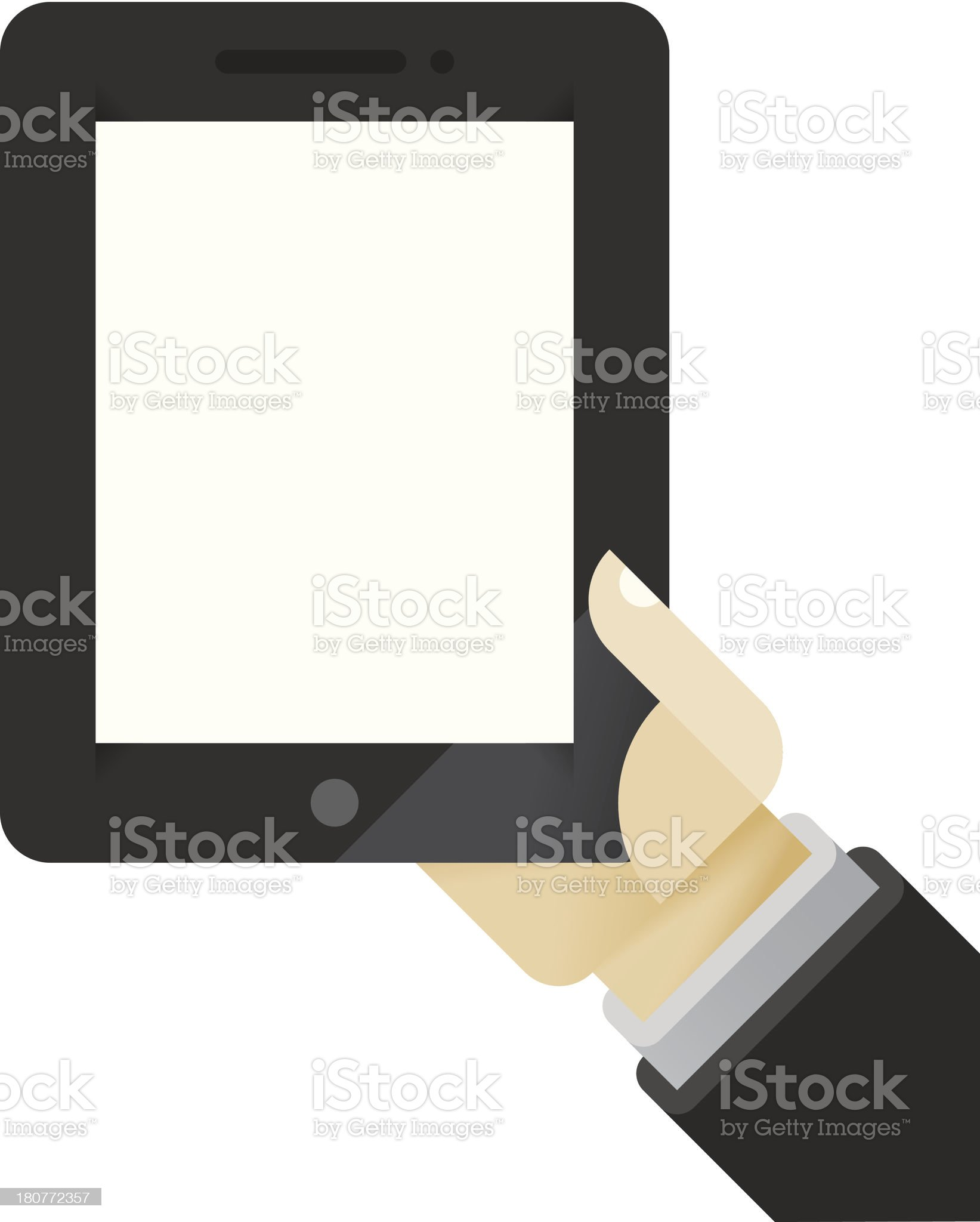 Tablet computer in human hands royalty-free stock vector art