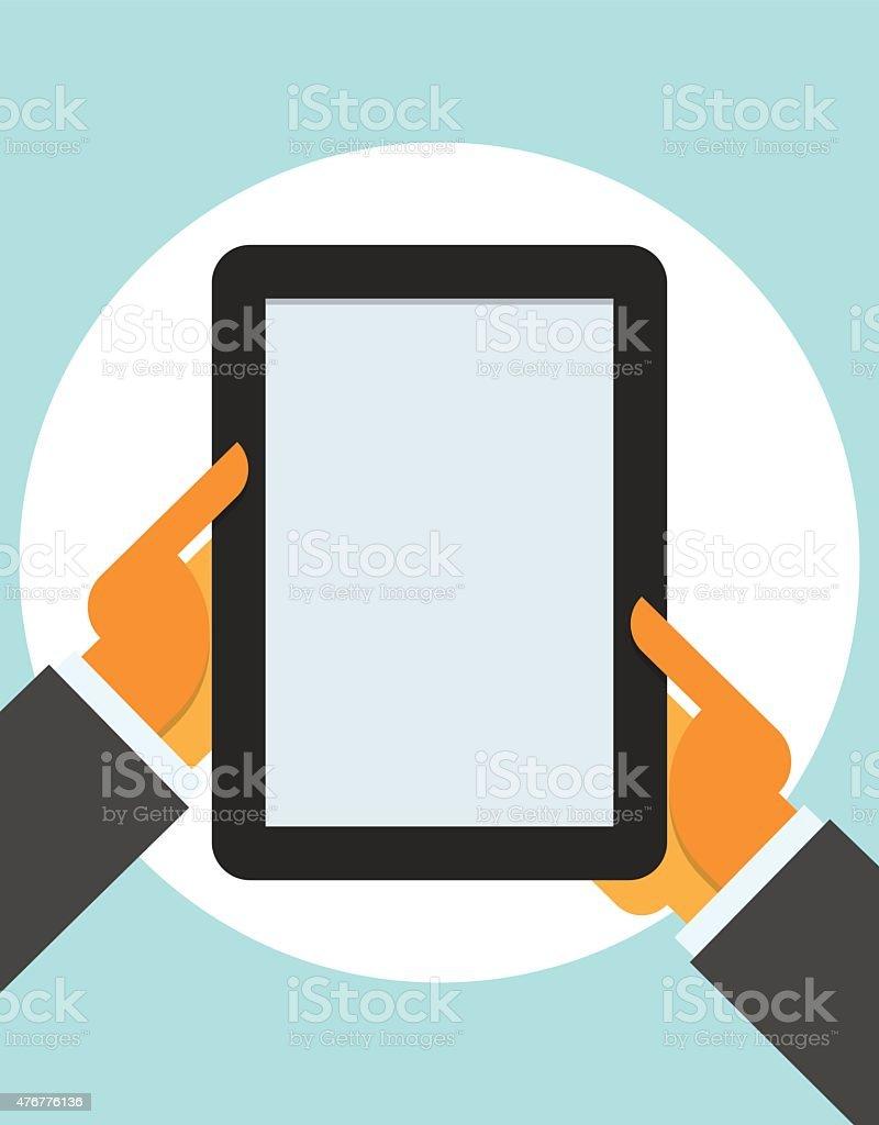 tablet computer in user hands vector art illustration