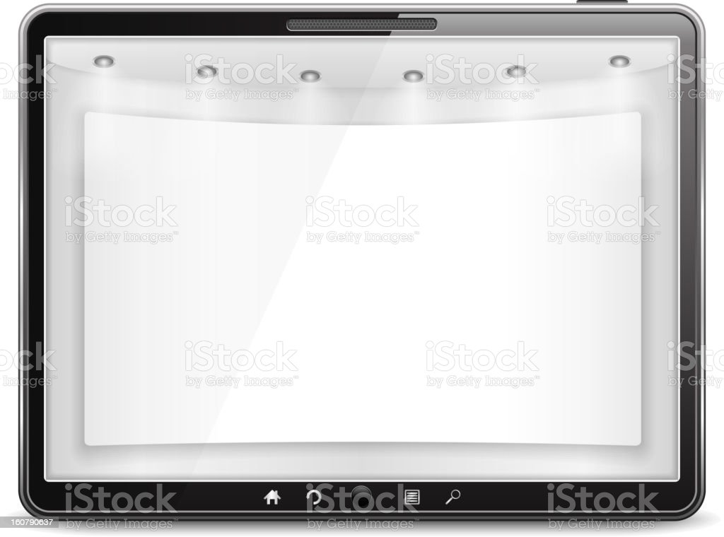Tablet Computer with Blank Banner royalty-free stock vector art