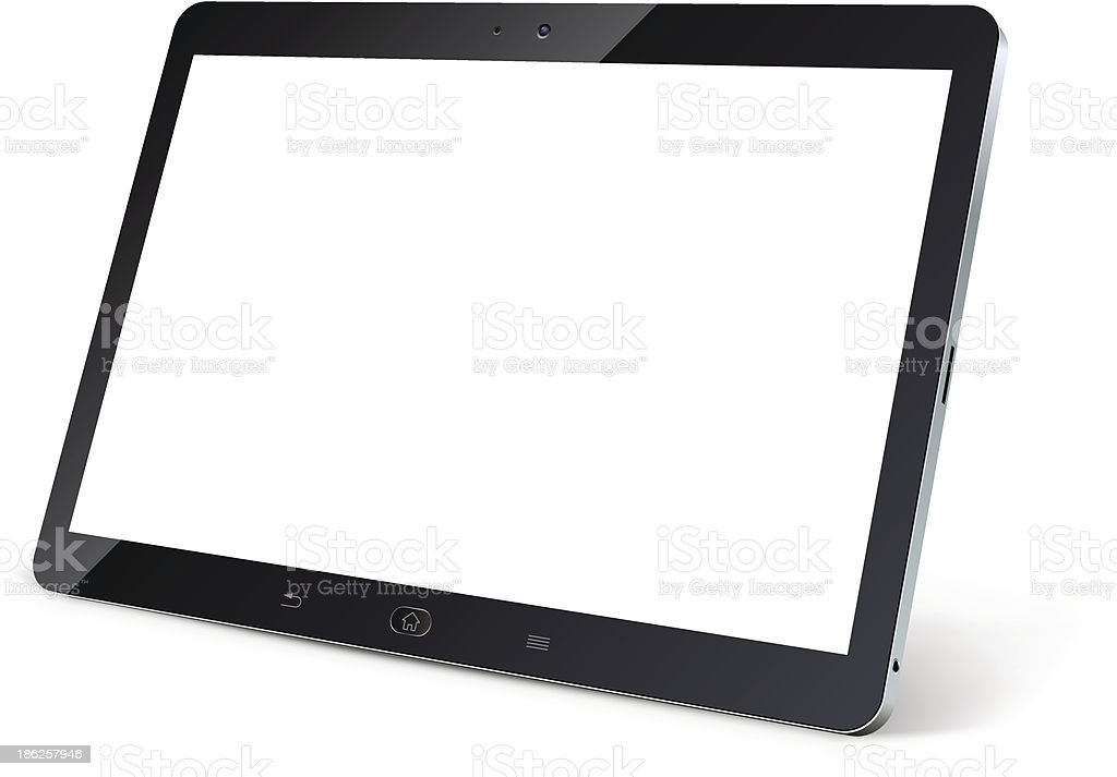Tablet computer with blank white screen vector art illustration