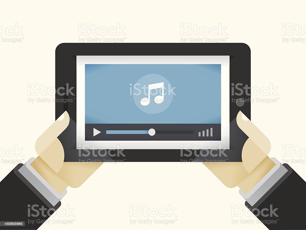 Tablet computer with music player royalty-free stock vector art