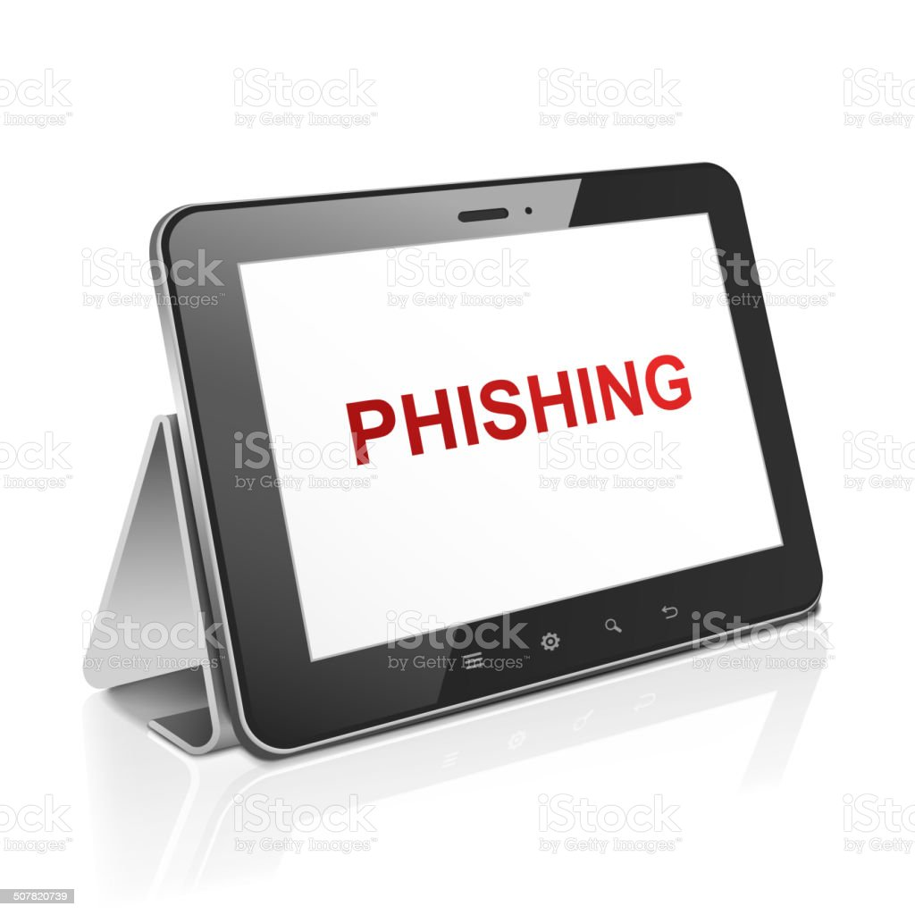 tablet computer with text phishing on display vector art illustration